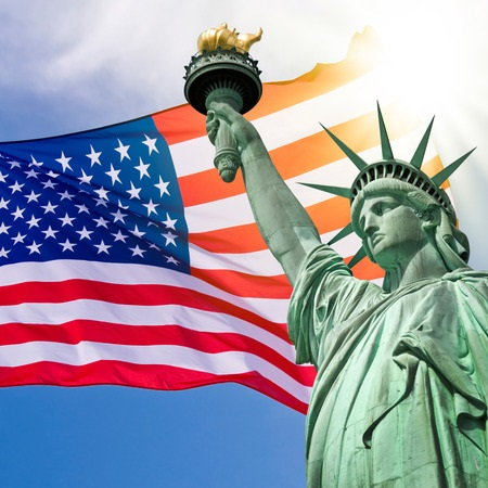 Exclusive Escorted Group Trip to New York from 15 - 21 November, 2019. Images of USA flag and the Statue of Liberty